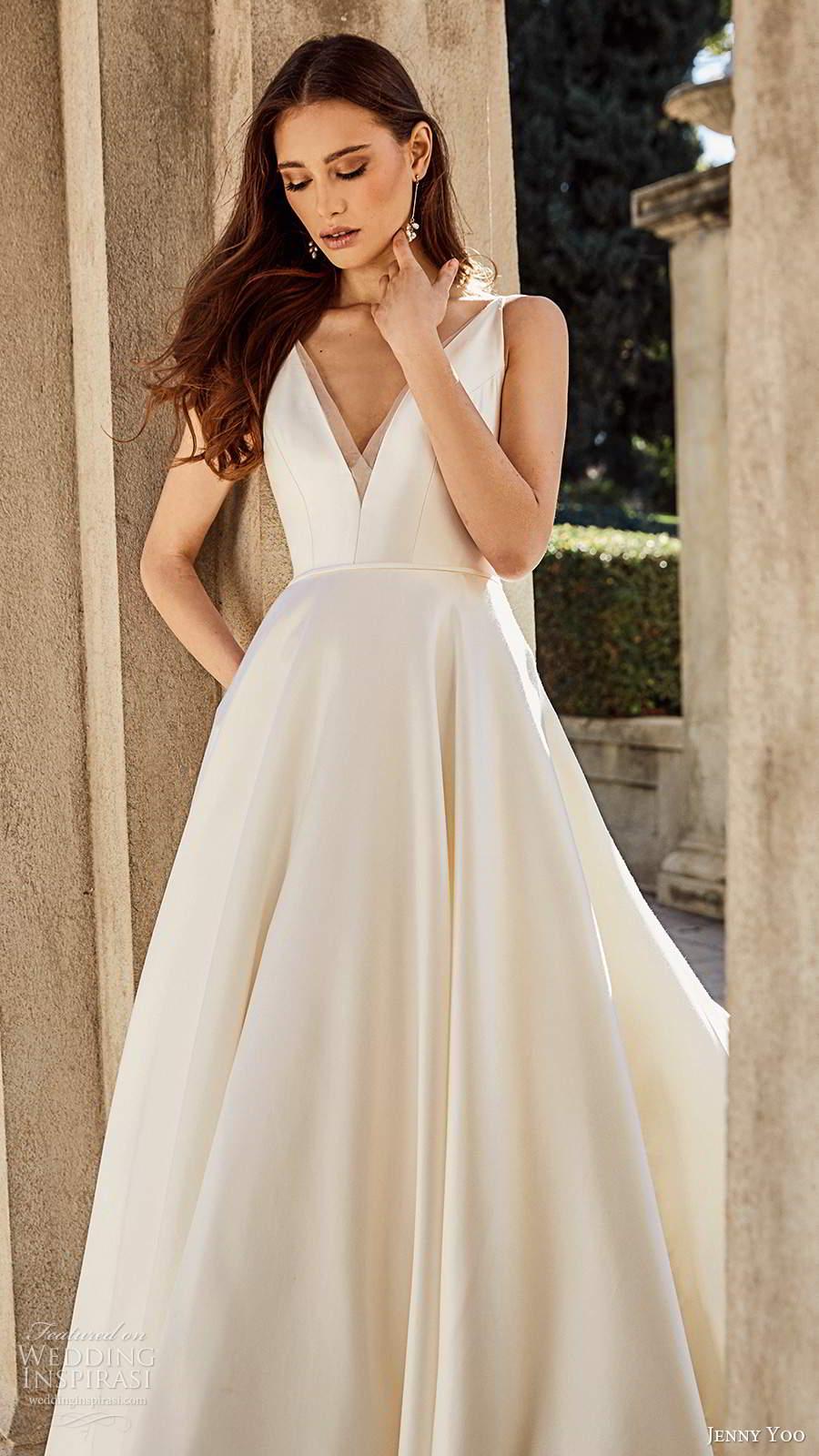 jenny yoo spring 2020 bridal sleeeless straps v neckline minimalist clean a line ball gown wedding dress v back chapel train (5) zv