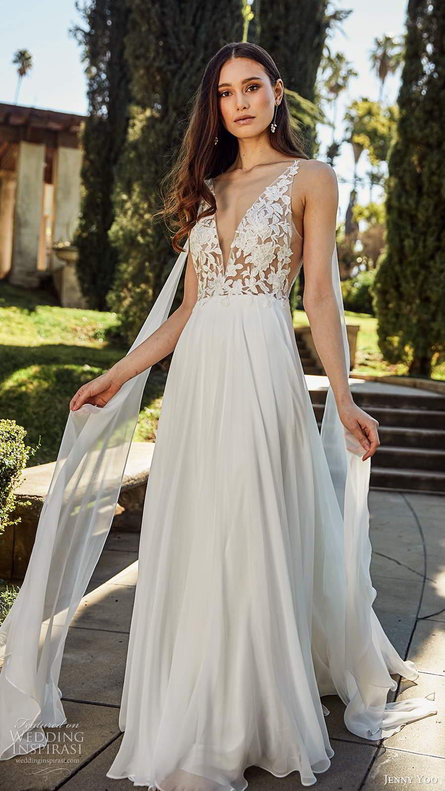 jenny yoo spring 2020 bridal sleeveless straps plunging v necklie embellished bodice clean skirt a line ball gown wedding dress chapel train (4) fv