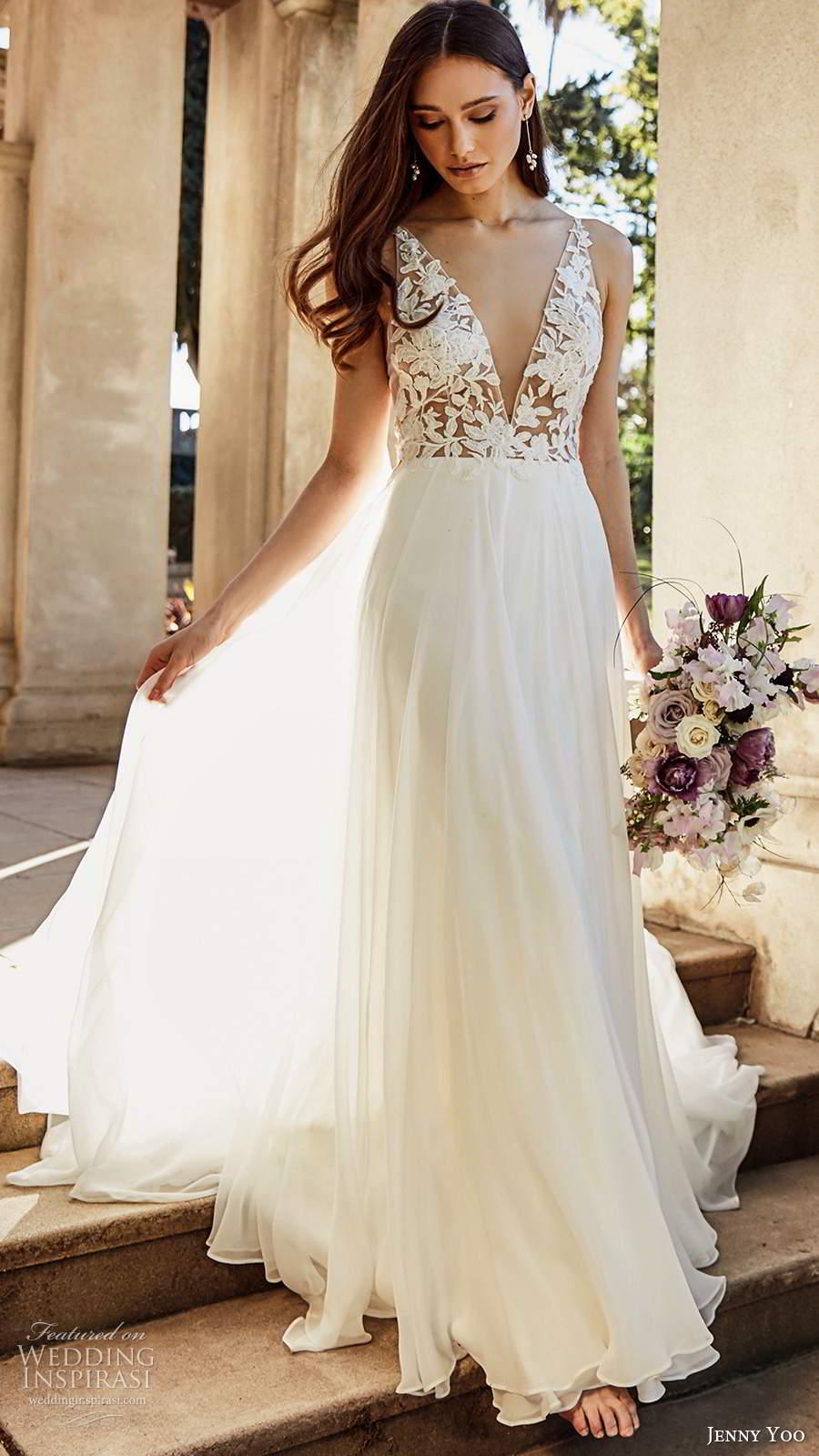 jenny yoo spring 2020 bridal sleeveless straps plunging v necklie embellished bodice clean skirt a line ball gown wedding dress chapel train (4) mv