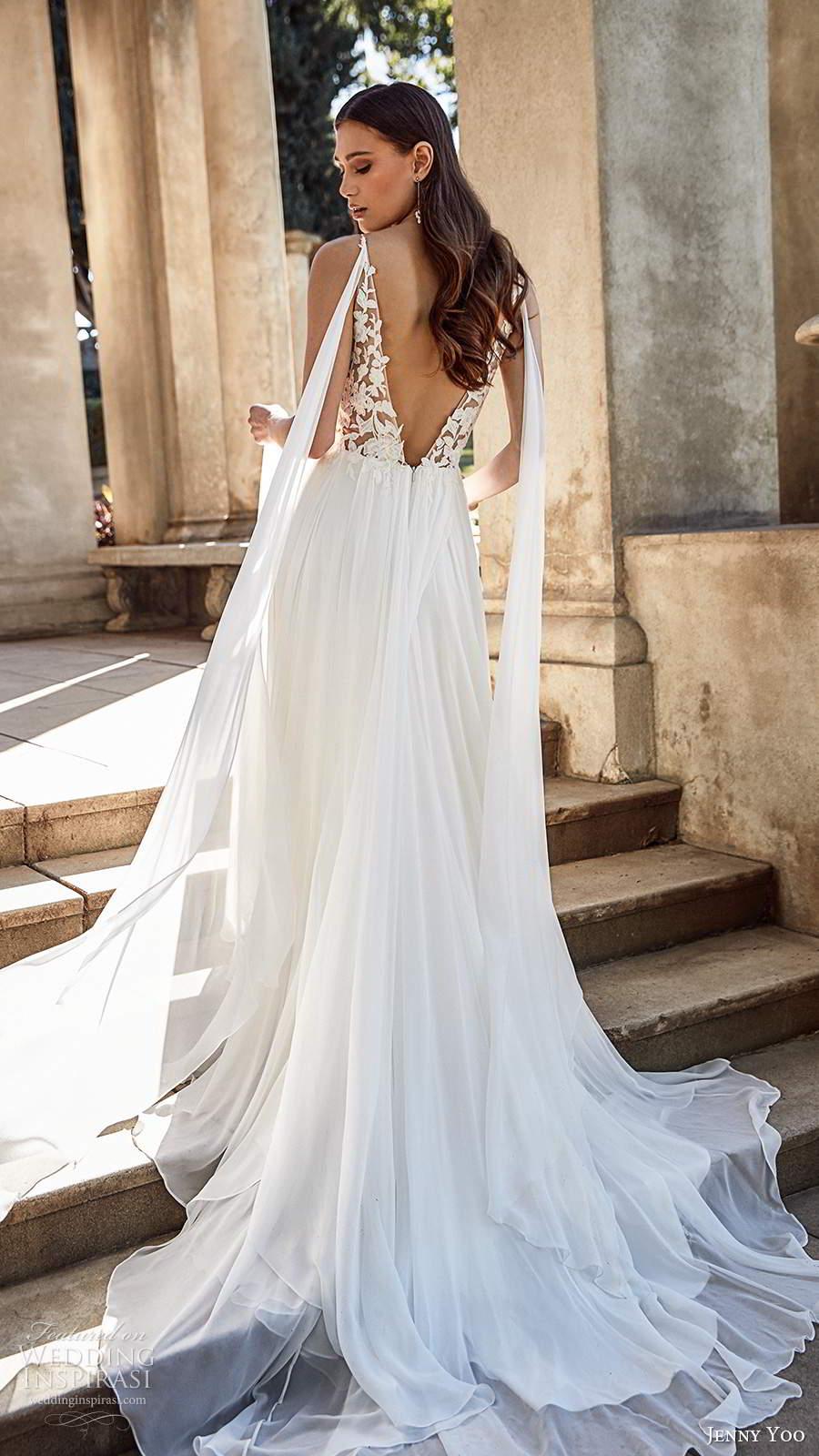 jenny yoo spring 2020 bridal sleeveless straps plunging v necklie embellished bodice clean skirt a line ball gown wedding dress v back chapel train (4) zv
