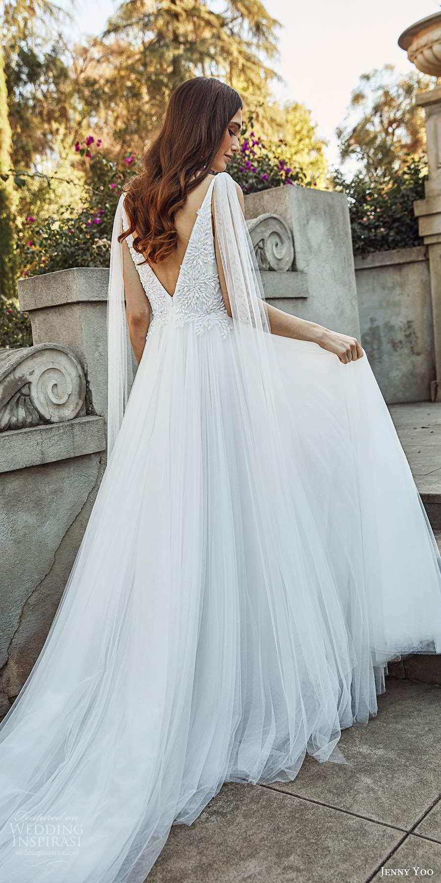 jenny yoo spring 2020 bridal sleeveless straps plunging v neckline embellished bodice a line ball gown wedding dress vback chapel train (1) bv