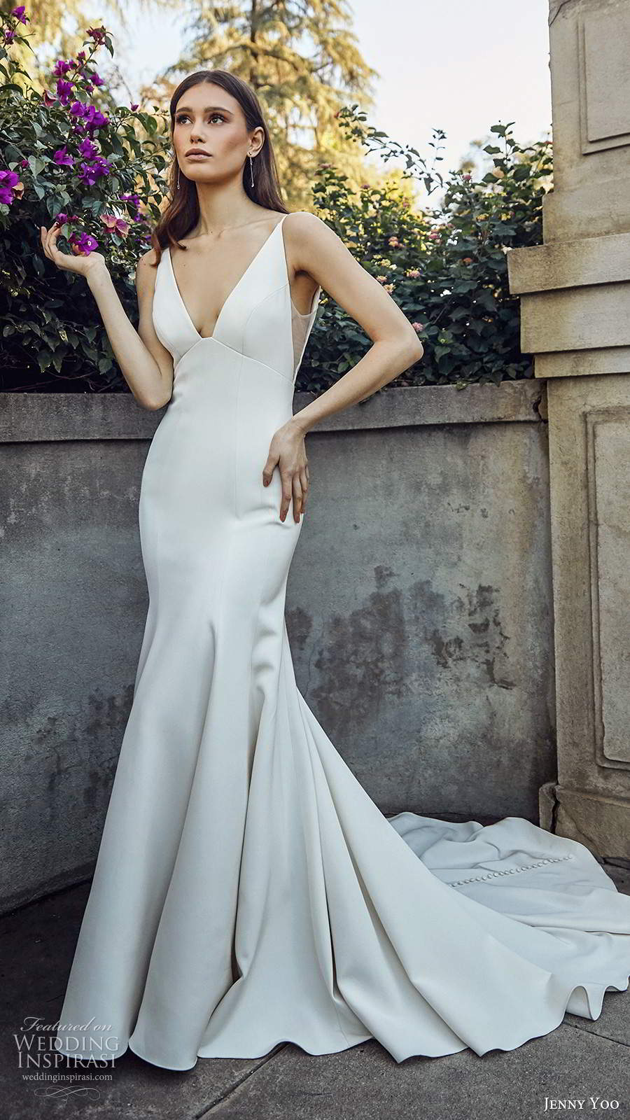 jenny yoo spring 2020 bridal sleeveless straps v neckline clean minimalist sheath fit flare mermaid wedding dress chapel train (9) mv