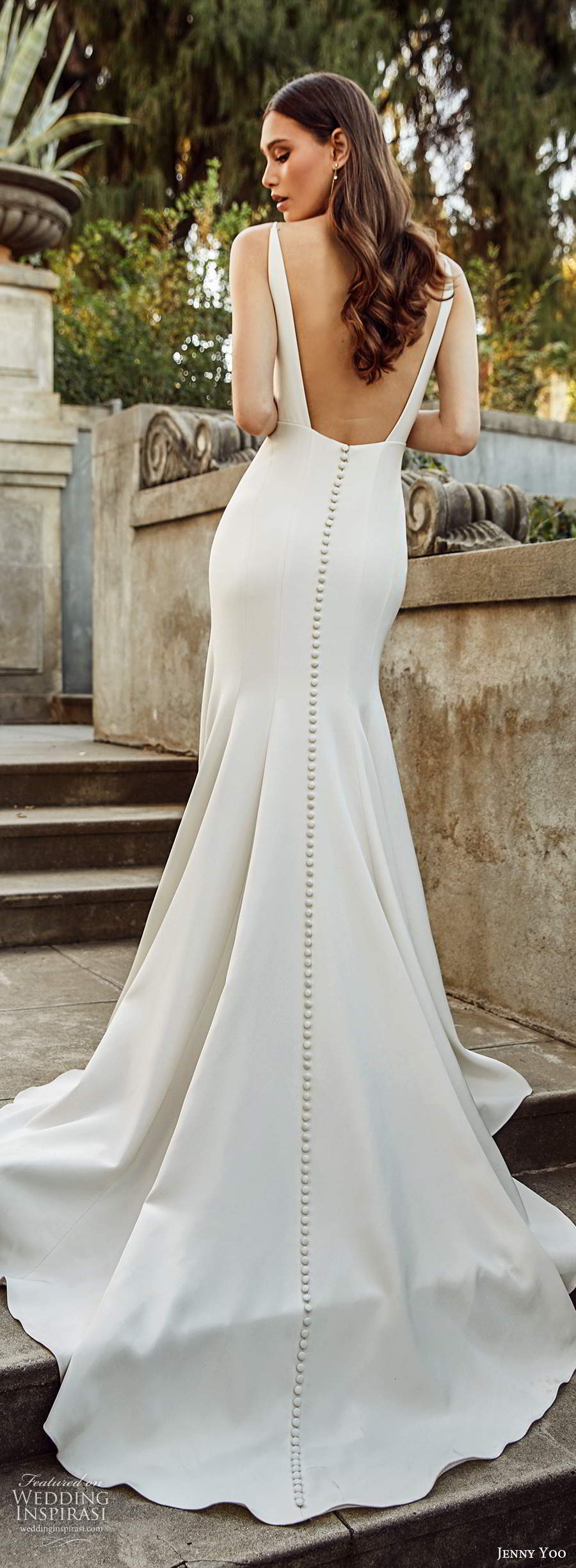 jenny yoo spring 2020 bridal sleeveless straps v neckline clean minimalist sheath fit flare mermaid wedding dress low back chapel train (9) lbv