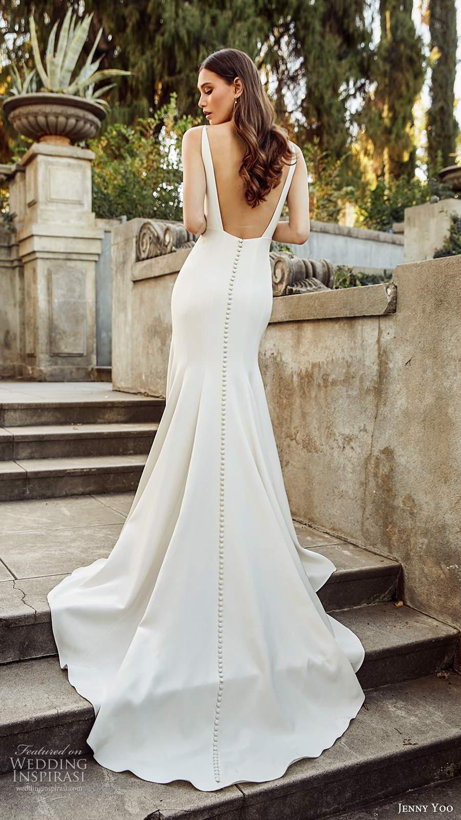 jenny yoo spring 2020 bridal sleeveless straps v neckline clean minimalist sheath fit flare mermaid wedding dress low back chapel train (9) mv
