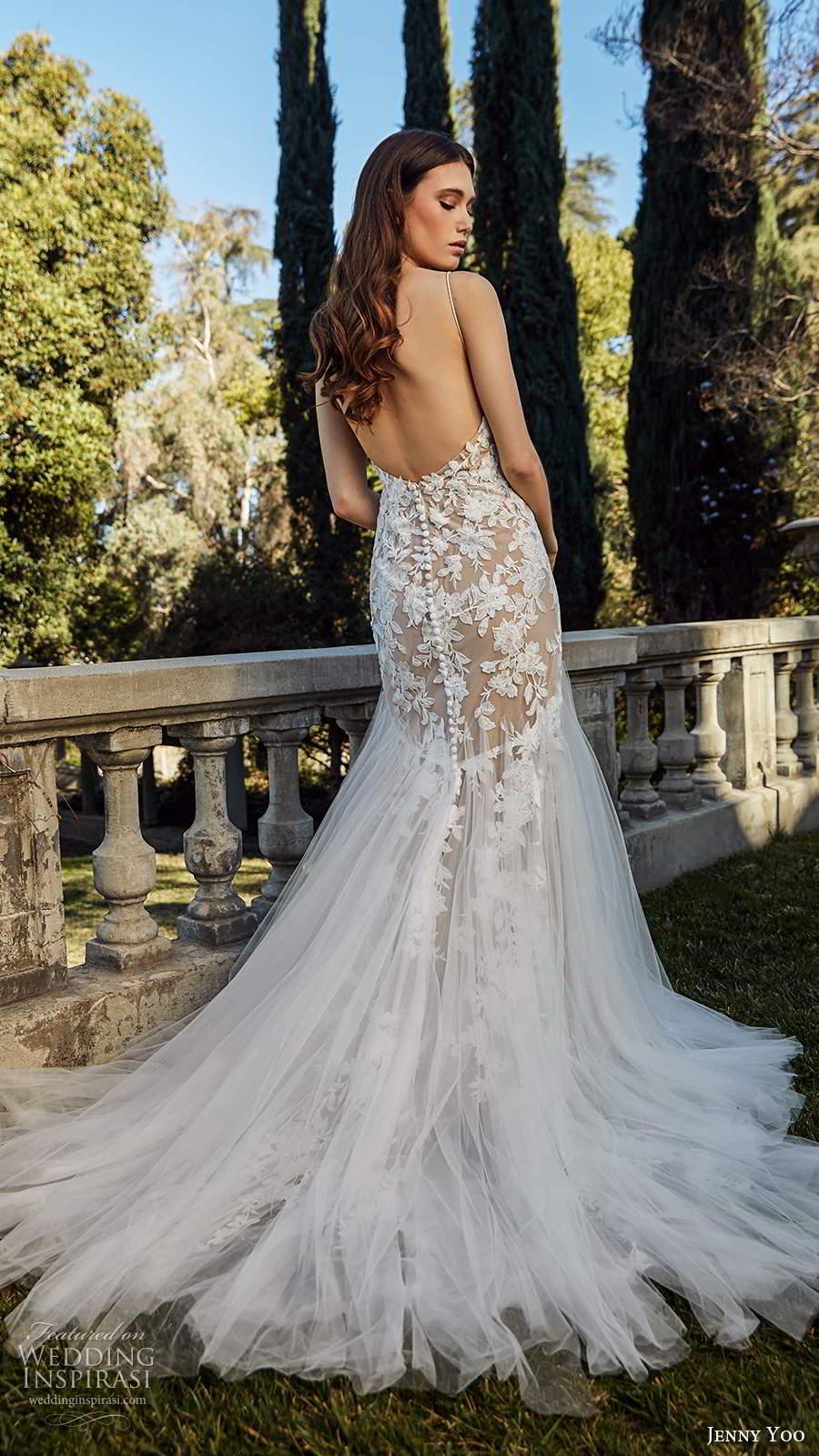 jenny yoo spring 2020 bridal sleeveless straps v neckline embellished bodice mermaid fit flare blush wedding dress chapel train (3) bv