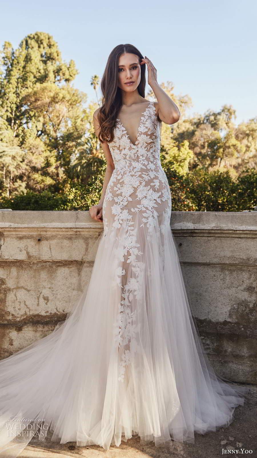 jenny yoo spring 2020 bridal sleeveless straps v neckline embellished bodice mermaid fit flare blush wedding dress chapel train (3) fv