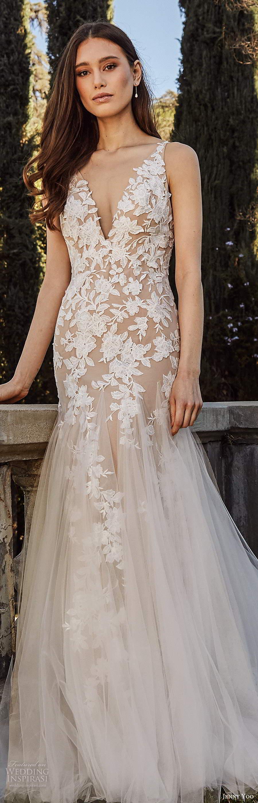 jenny yoo spring 2020 bridal sleeveless straps v neckline embellished bodice mermaid fit flare blush wedding dress chapel train (3) lv