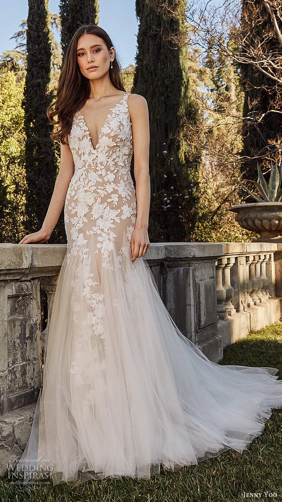jenny yoo spring 2020 bridal sleeveless straps v neckline embellished bodice mermaid fit flare blush wedding dress chapel train (3) mv
