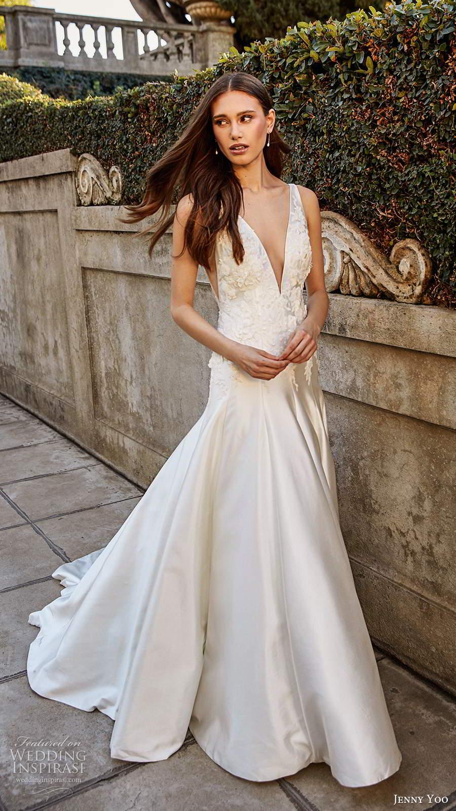 jenny yoo spring 2020 bridal sleeveless thick sleeves plunging v neckline clean minimalist drop waist fit flare mermaid wedding dress chapel train (7) fv