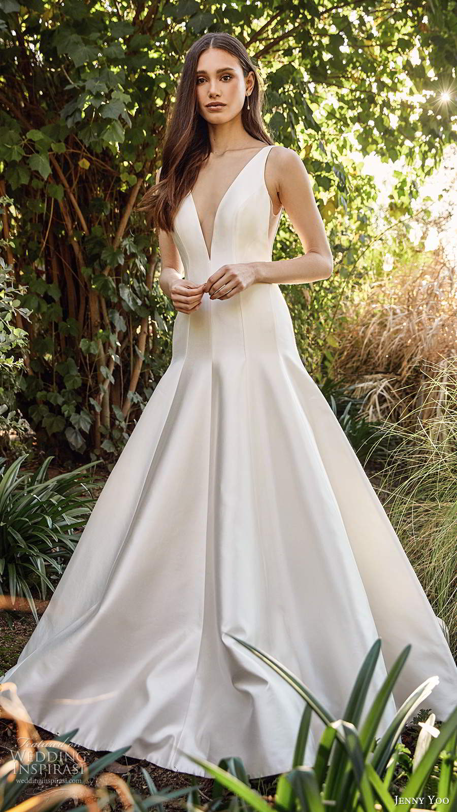 jenny yoo spring 2020 bridal sleeveless thick sleeves plunging v neckline clean minimalist drop waist fit flare mermaid wedding dress chapel train (7) mv