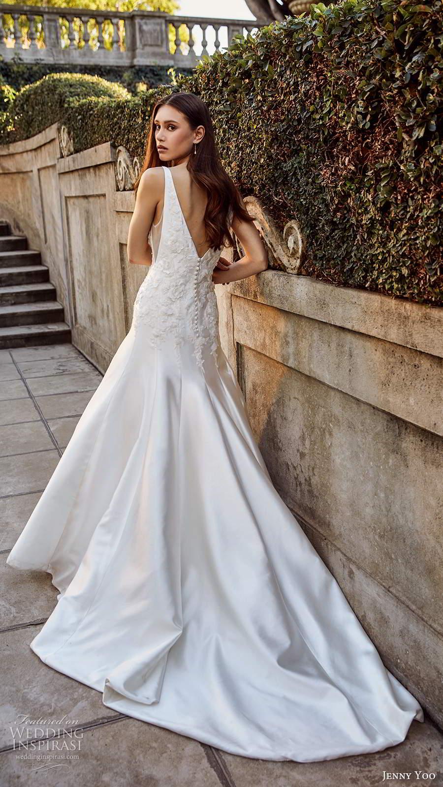 jenny yoo spring 2020 bridal sleeveless thick sleeves plunging v neckline clean minimalist drop waist fit flare mermaid wedding dress v back chapel train (7) bv