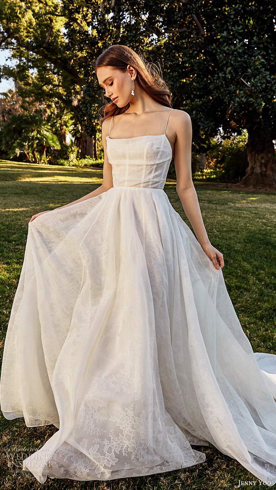 jenny yoo spring 2020 bridal sleeveless thin straps cowl straight neckline a line ball gown wedding dress pocket chapel train (6) fv