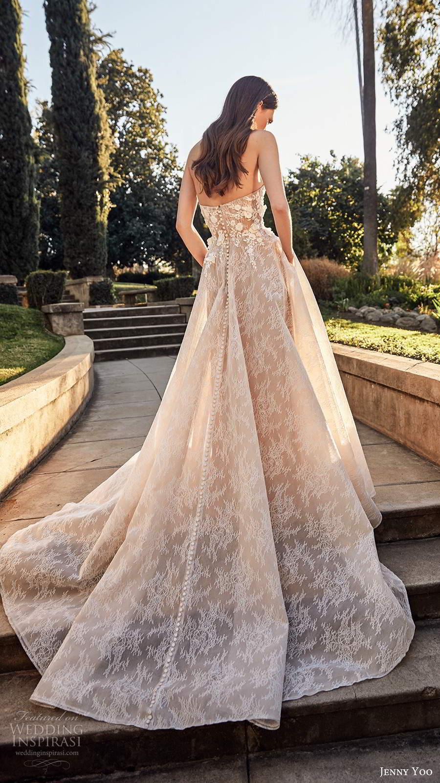 jenny yoo spring 2020 bridal strapless semi sweetheart neckline heavily embellished bodice a line ball gown wedding dress chapel train (2) bv