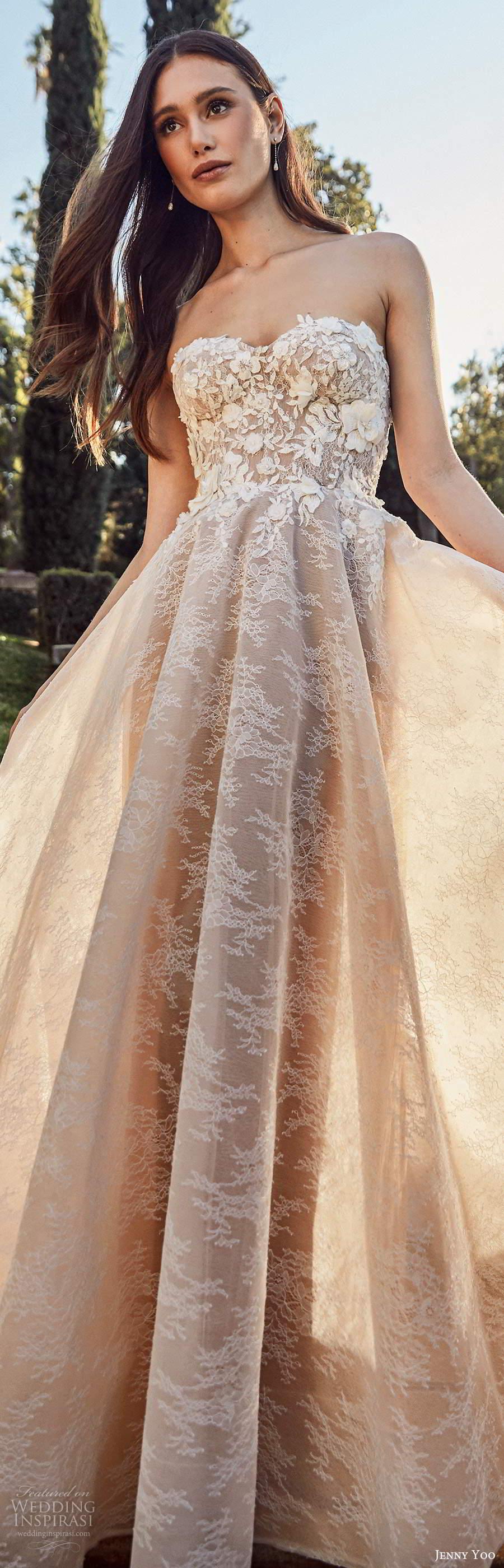 jenny yoo spring 2020 bridal strapless semi sweetheart neckline heavily embellished bodice a line ball gown wedding dress chapel train (2) lv
