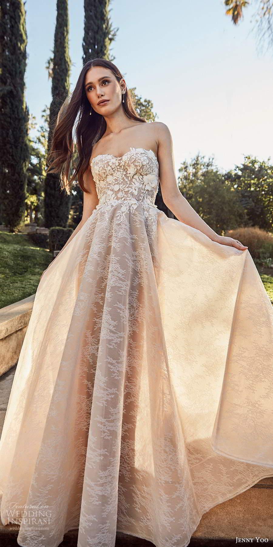jenny yoo spring 2020 bridal strapless semi sweetheart neckline heavily embellished bodice a line ball gown wedding dress chapel train (2) mv