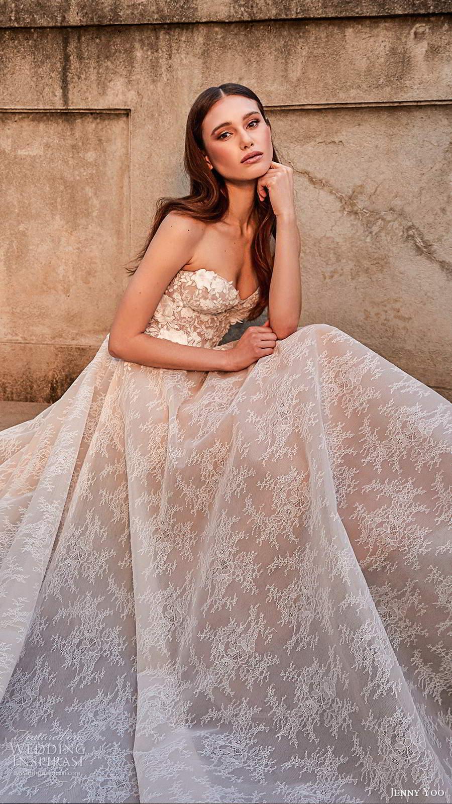 jenny yoo spring 2020 bridal strapless semi sweetheart neckline heavily embellished bodice a line ball gown wedding dress chapel train (2) zv