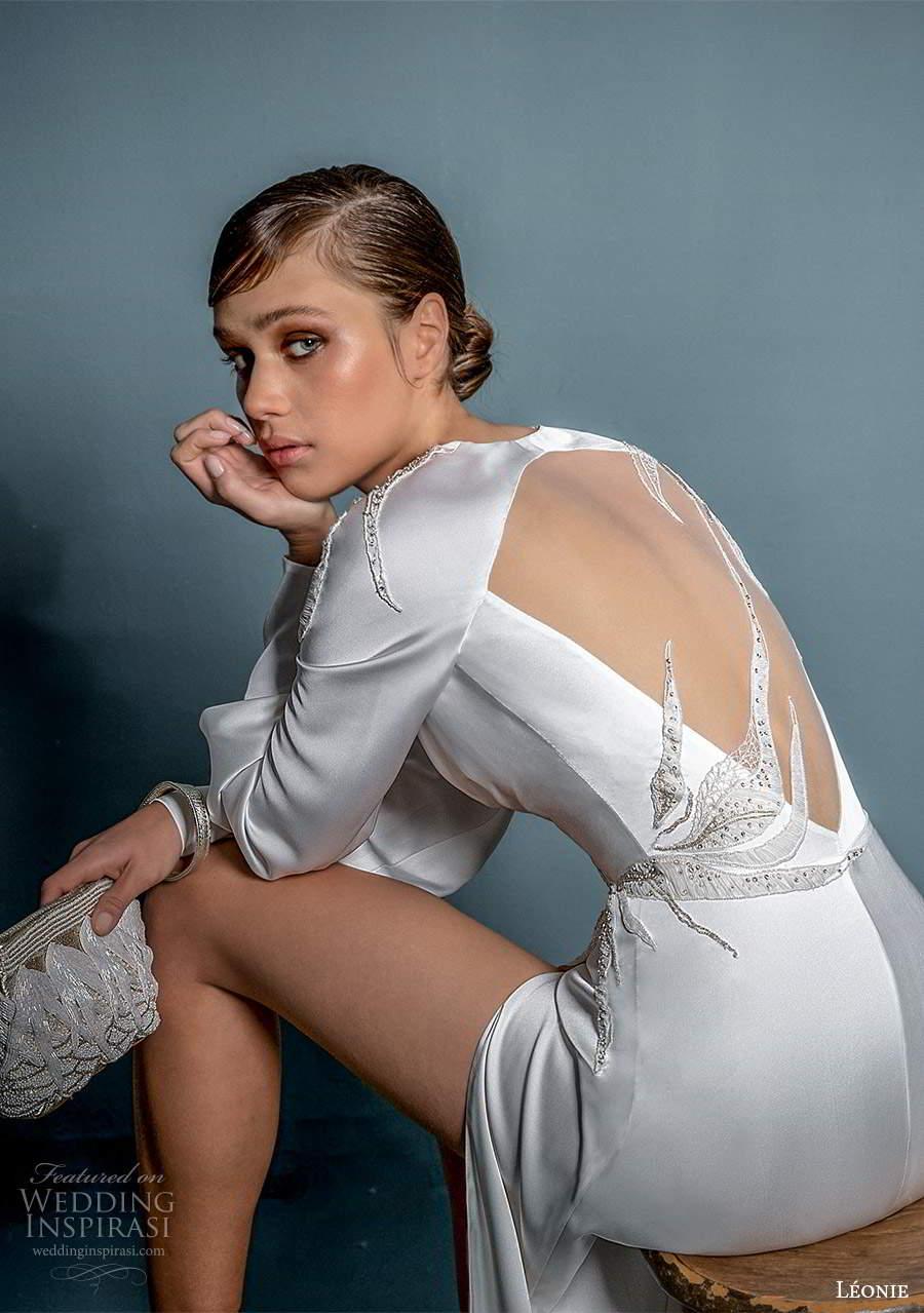 leonie bridal 2020 bridal long cuff sleeves queen anne neckline ruched bodice sheath wedding dress slit skirt (8) bv