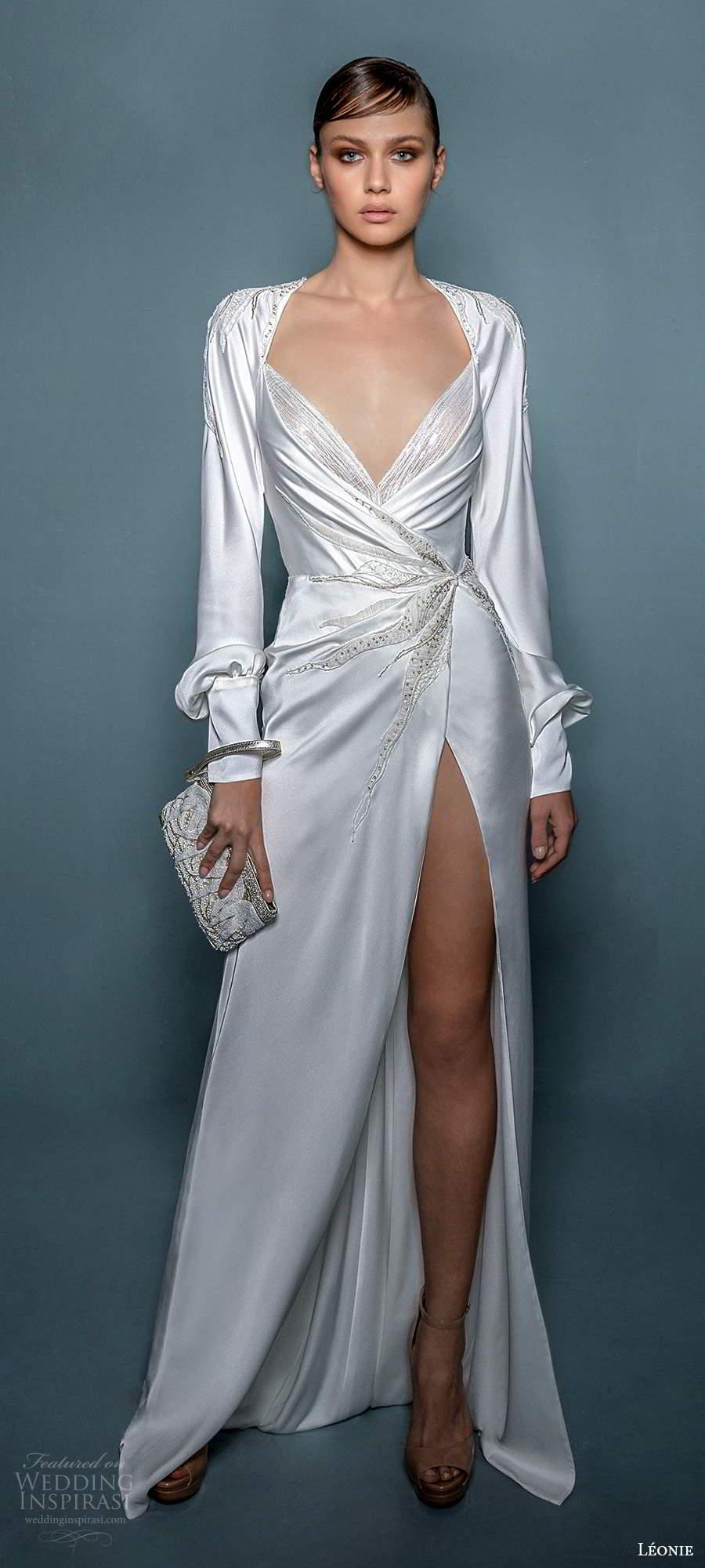 leonie bridal 2020 bridal long cuff sleeves queen anne neckline ruched bodice sheath wedding dress slit skirt (8) mv