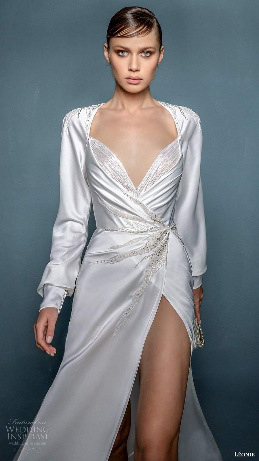 leonie bridal 2020 bridal long cuff sleeves queen anne neckline ruched bodice sheath wedding dress slit skirt (8) zv