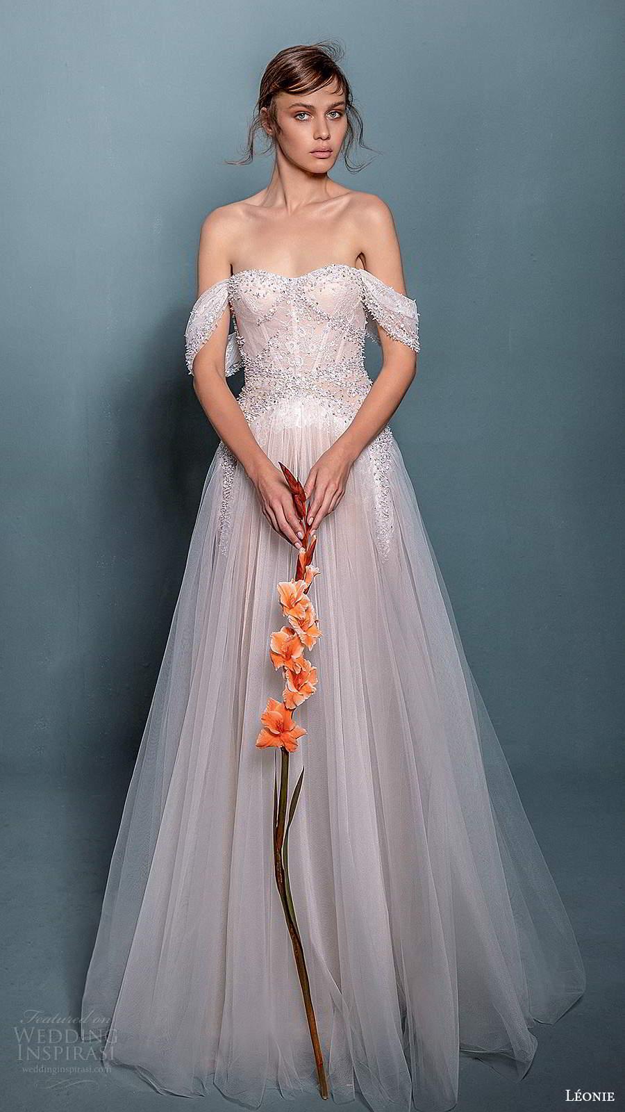 leonie bridal 2020 bridal off shoulder straps semi sweetheart neckline fully embellished a line ball gown wedding dress (12) mv