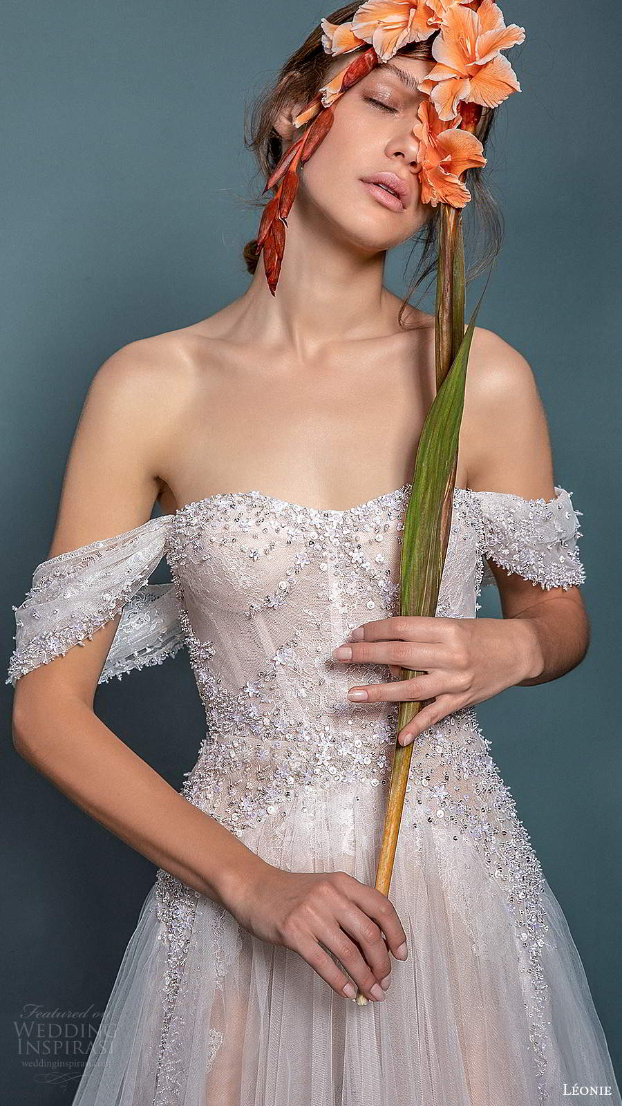 leonie bridal 2020 bridal off shoulder straps semi sweetheart neckline fully embellished a line ball gown wedding dress (12) zv