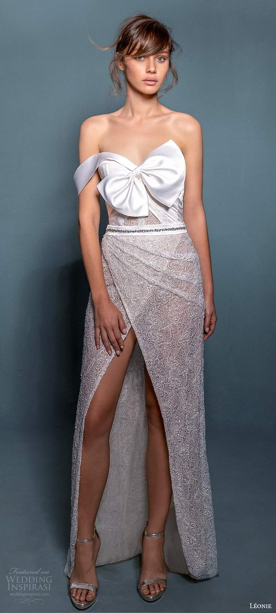 leonie bridal 2020 bridal one shoulder stap asymmetrical neckline fully embellished sheath wedding dress slit skirt (11) mv