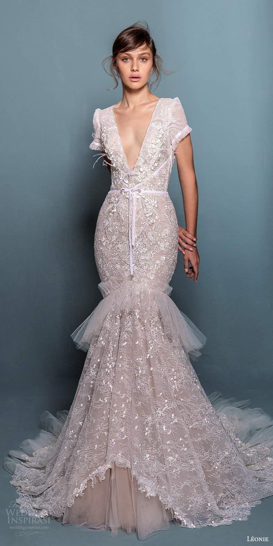 leonie bridal 2020 bridal short sleeves plunging v neckline fully embellished lace fit flare mermaid wedding dress chapel train (4) mv