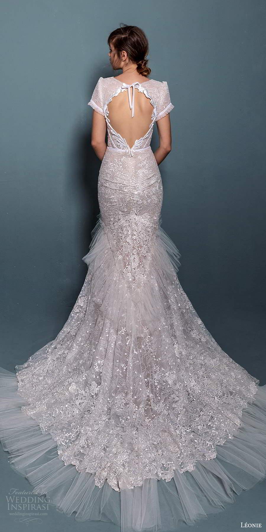 leonie bridal 2020 bridal short sleeves plunging v neckline fully embellished lace fit flare mermaid wedding dress chapel train keyhole back (4) bv