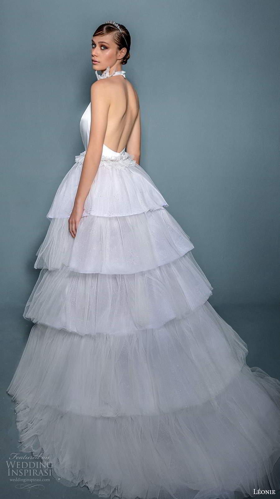 leonie bridal 2020 bridal sleeveless halter straps plunging v necklinen a line ball gown wedding dress slit skirt (10) bv