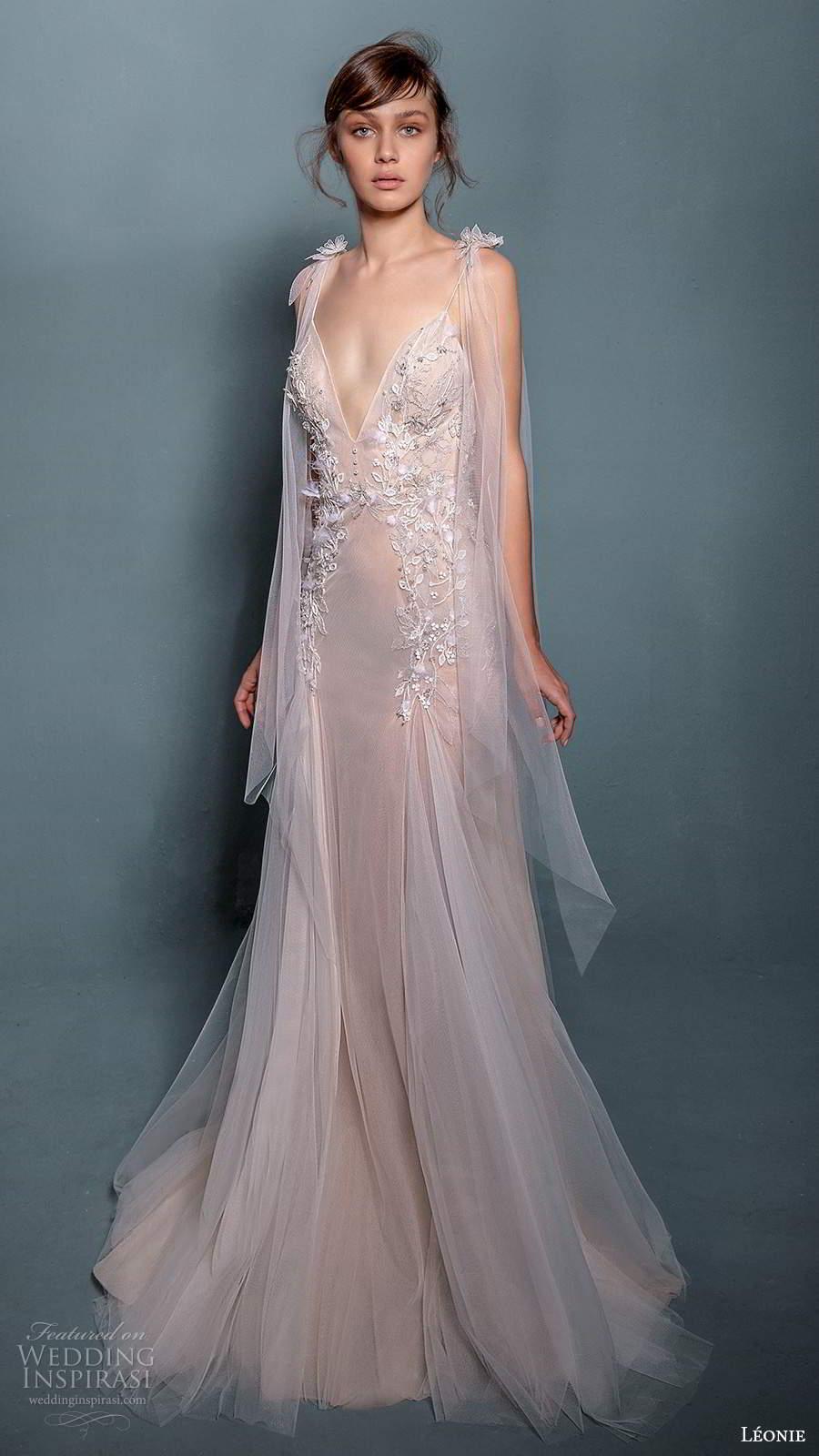 leonie bridal 2020 bridal sleeveless ribbon tie straps plunginv neckline embellished bodice fit flare a line wedding dress chapel train (7) mv