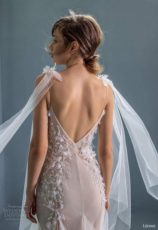 leonie bridal 2020 bridal sleeveless ribbon tie straps plunginv neckline embellished bodice fit flare a line wedding dress chapel train (7) zbv