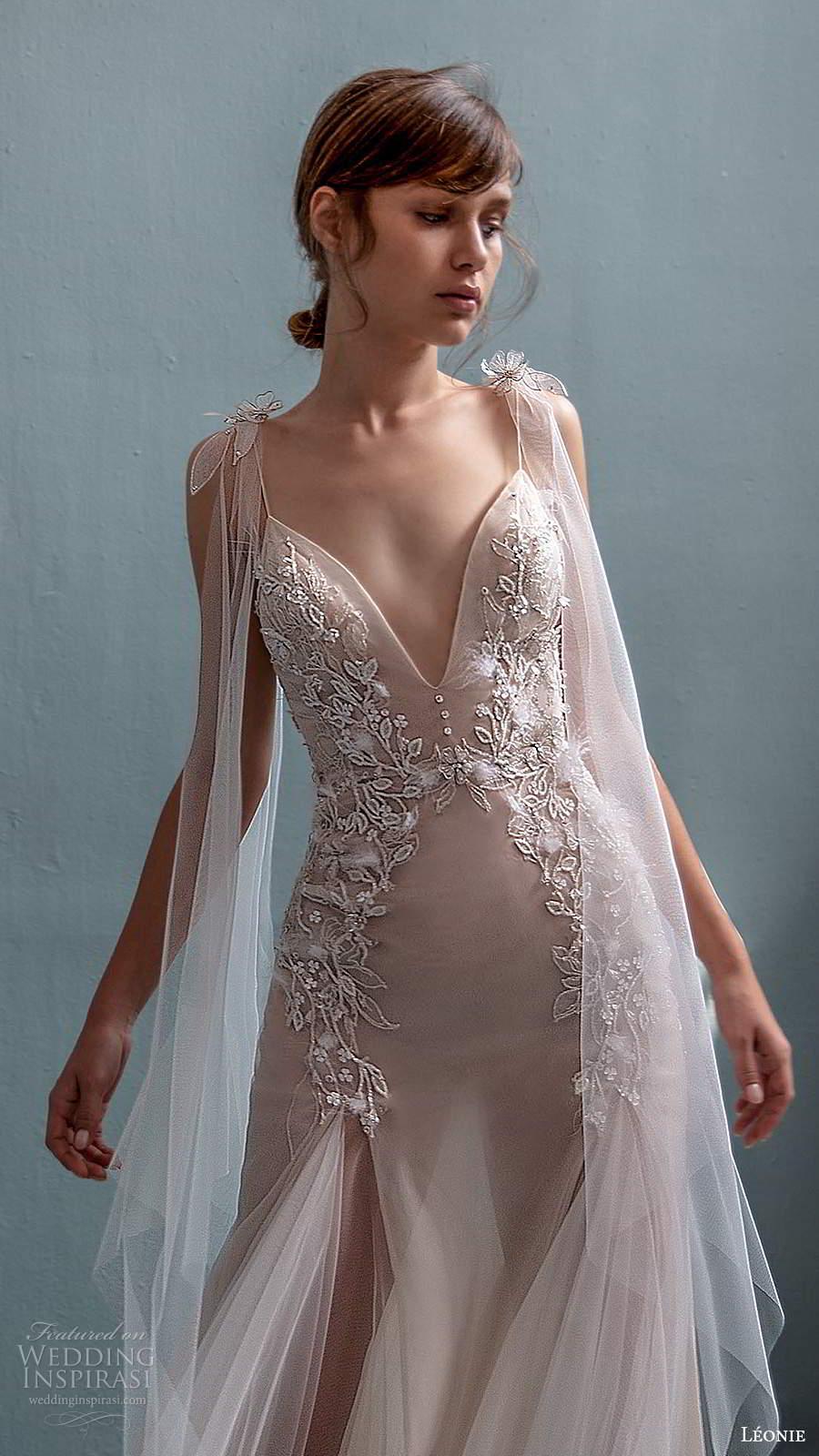 leonie bridal 2020 bridal sleeveless ribbon tie straps plunginv neckline embellished bodice fit flare a line wedding dress chapel train (7) zv
