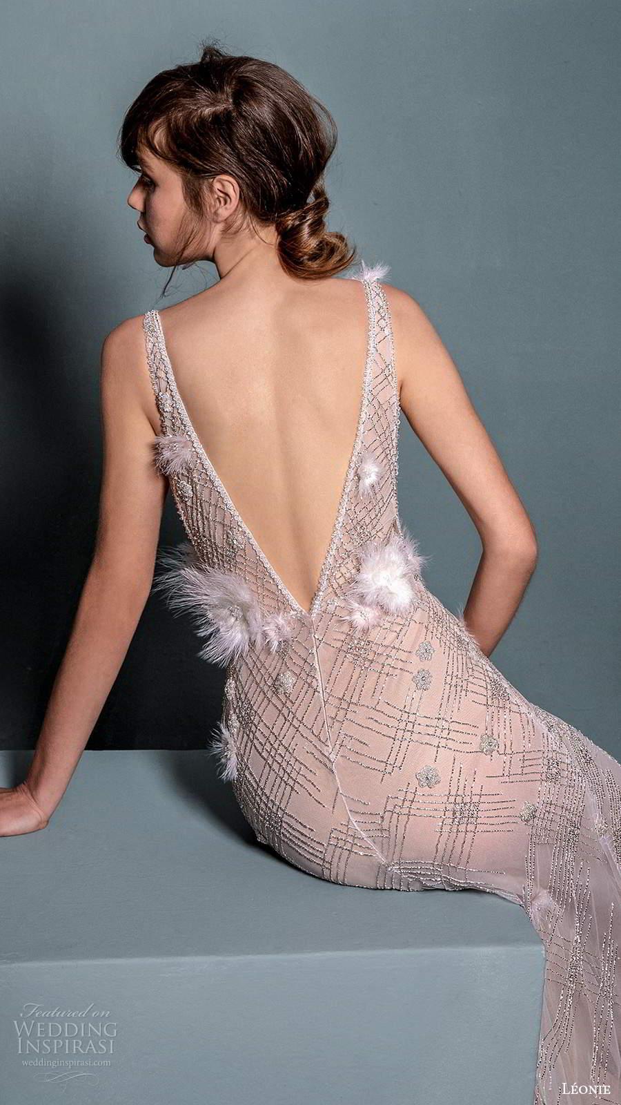 leonie bridal 2020 bridal sleeveless straps plunging neckline fully embellished sheer sheath wedding dress chapel train (6) zbv