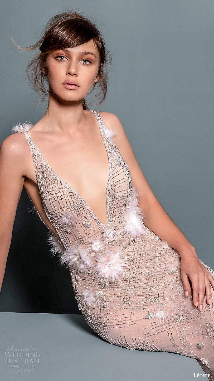 leonie bridal 2020 bridal sleeveless straps plunging neckline fully embellished sheer sheath wedding dress chapel train (6) zv