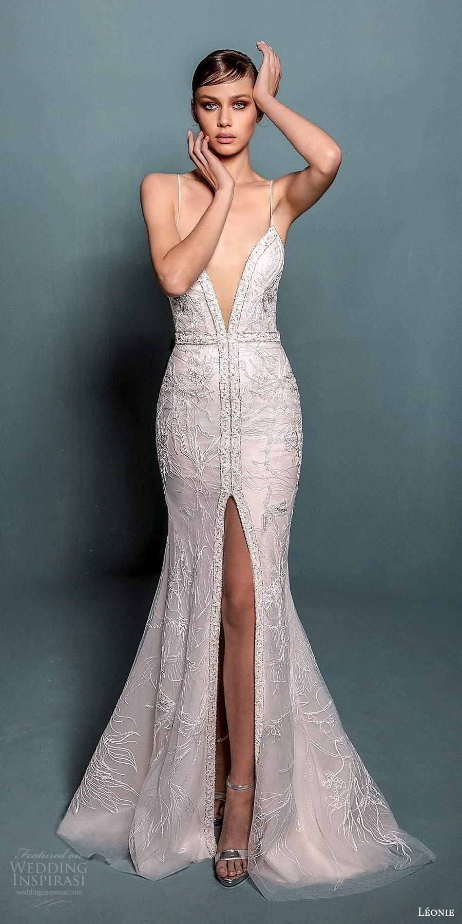 leonie bridal 2020 bridal sleeveless thin straps plunging v neckline embellished fit flare mermaid wedding dress slit skirt chapel train (1) mv