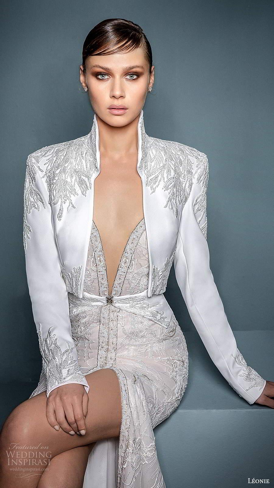 leonie bridal 2020 bridal sleeveless thin straps plunging v neckline embellished fit flare mermaid wedding dress slit skirt chapel train jacket (1) zv