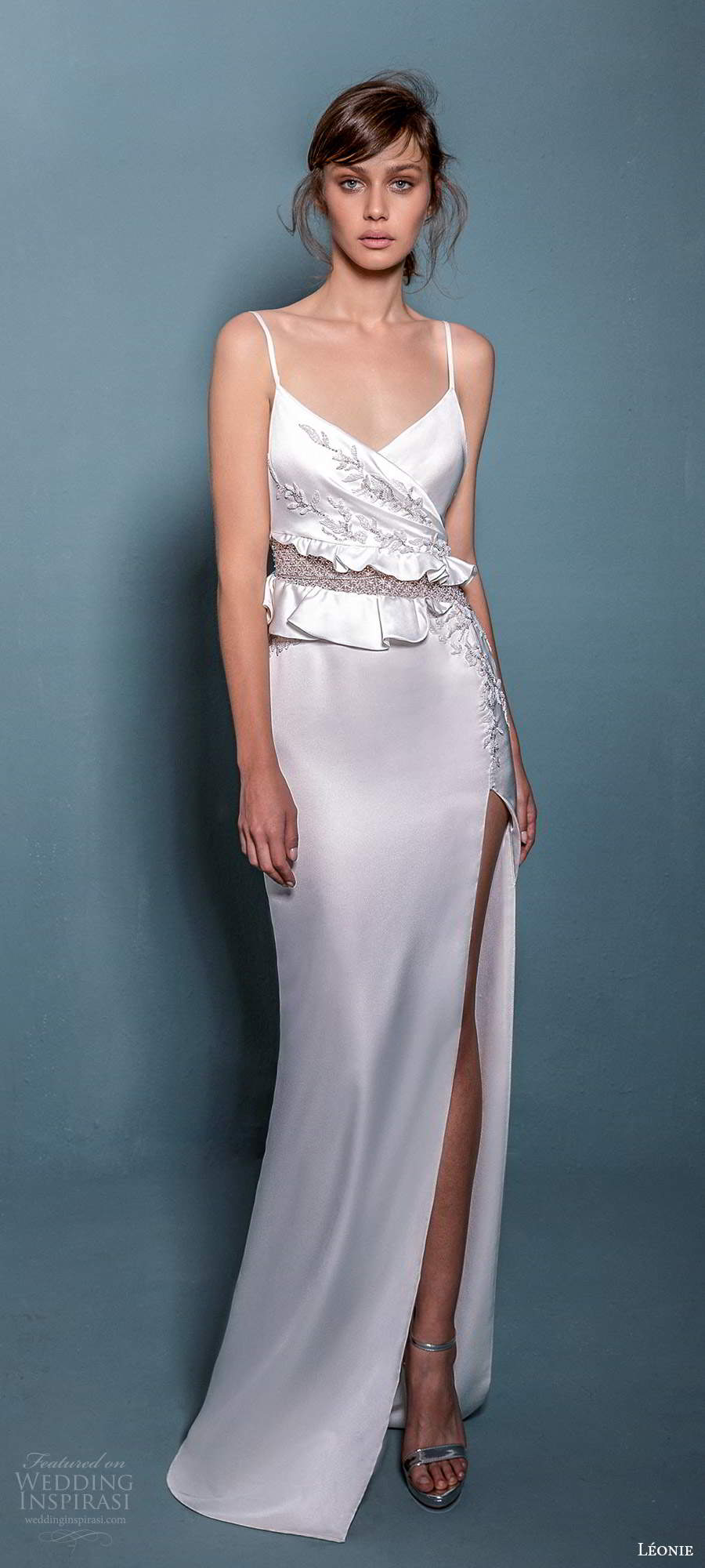 leonie bridal 2020 bridal sleeveless thin straps surplice v neckline embellished bodice sheath wedding dress slit skirt (9) mv