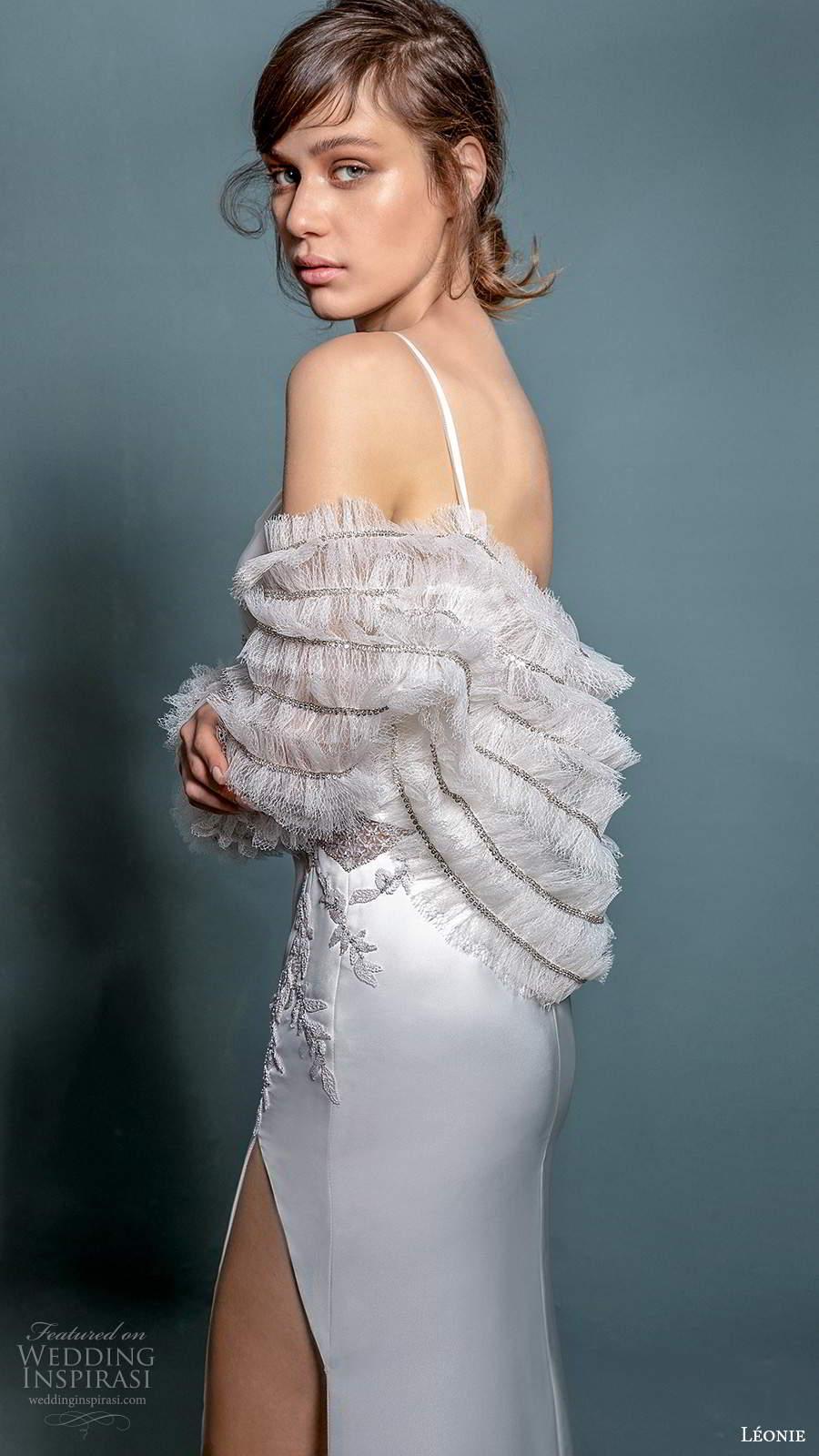 leonie bridal 2020 bridal sleeveless thin straps surplice v neckline embellished bodice sheath wedding dress slit skirt (9) zsv