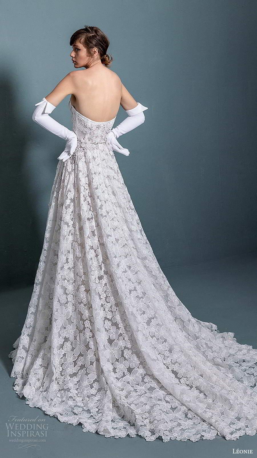 leonie bridal 2020 bridal strapless semi sweetheart neckline fully embellished a line ball gown wedding dress chapel train (2) bv
