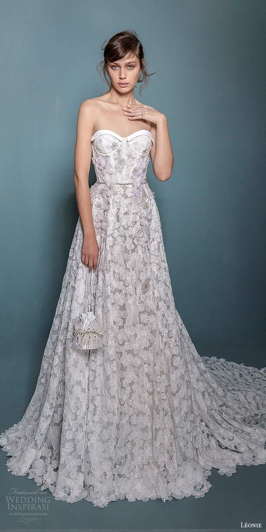 leonie bridal 2020 bridal strapless semi sweetheart neckline fully embellished a line ball gown wedding dress chapel train (2) mv