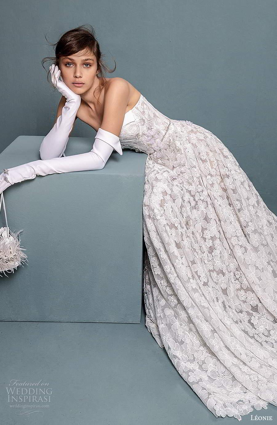 leonie bridal 2020 bridal strapless semi sweetheart neckline fully embellished a line ball gown wedding dress chapel train (2) sv