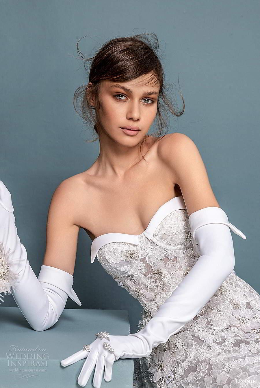 leonie bridal 2020 bridal strapless semi sweetheart neckline fully embellished a line ball gown wedding dress chapel train (2) zv