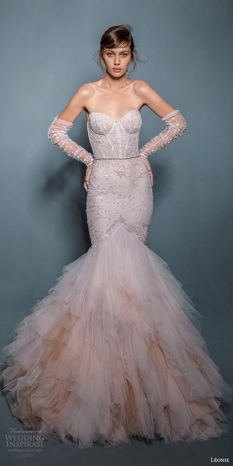 leonie bridal 2020 bridal strapless sweetheart neckline embellished fit flare mermaid wedding dress chapel train gloves (3) mv