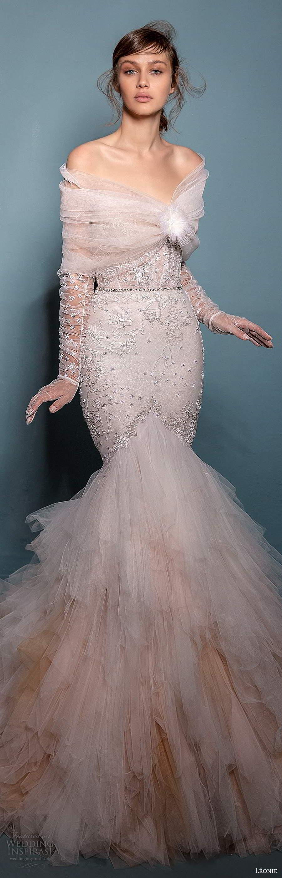 leonie bridal 2020 bridal strapless sweetheart neckline embellished fit flare mermaid wedding dress chapel train offshoulder shawl capelet (3) lv