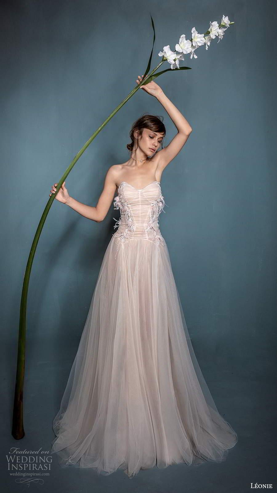 leonie bridal 2020 bridal strapless sweetheart neckline ruched bodice a line ball gown wedding dress chapel train (5) mv