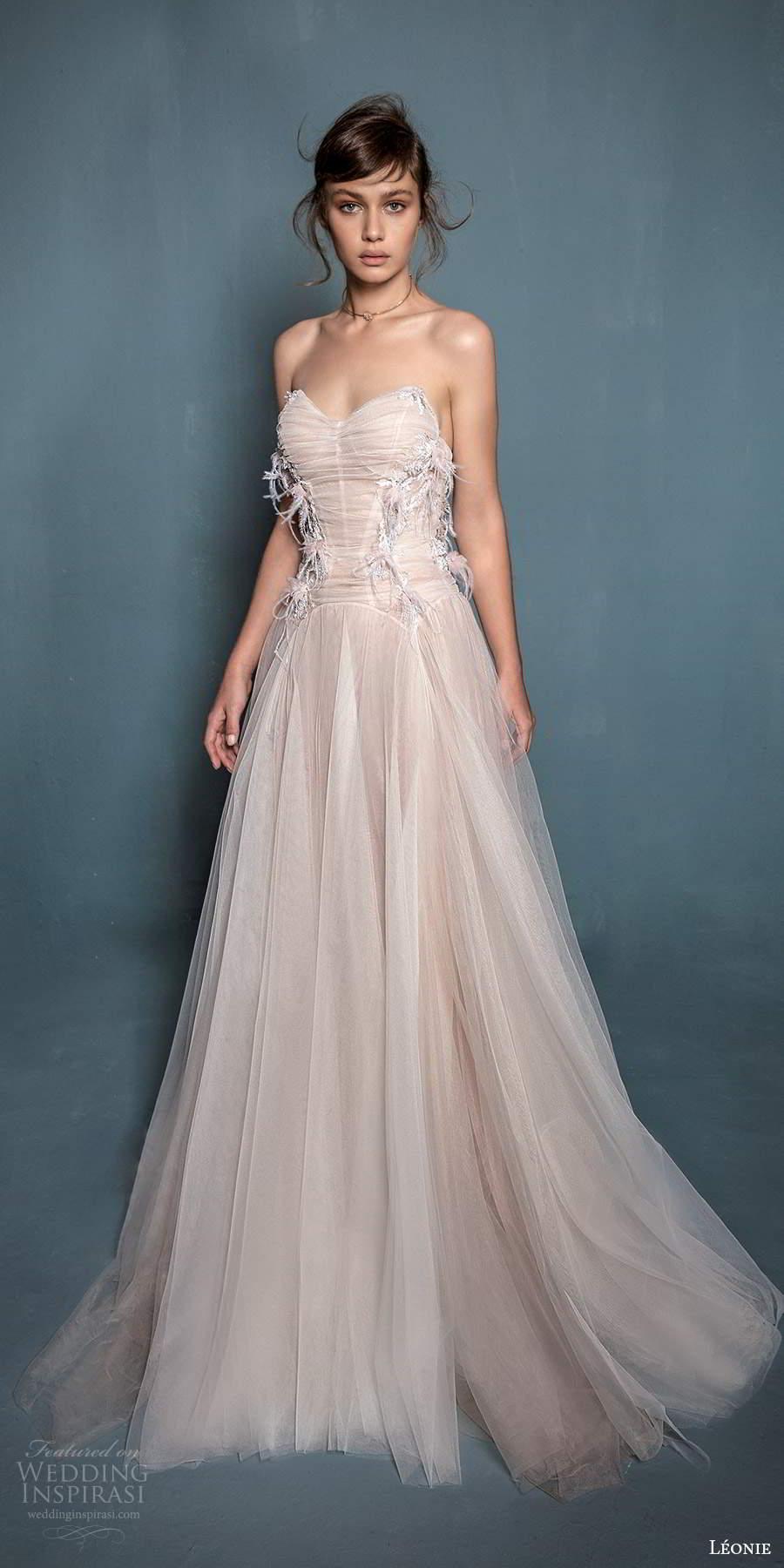 leonie bridal 2020 bridal strapless sweetheart neckline ruched bodice a line ball gown wedding dress chapel train slit skirt (5) fv