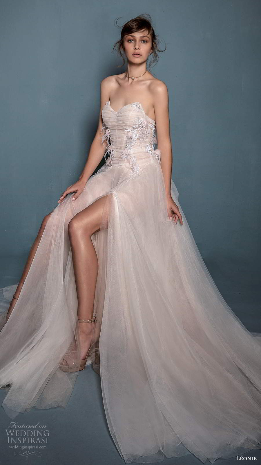 leonie bridal 2020 bridal strapless sweetheart neckline ruched bodice a line ball gown wedding dress chapel train slit skirt (5) mv