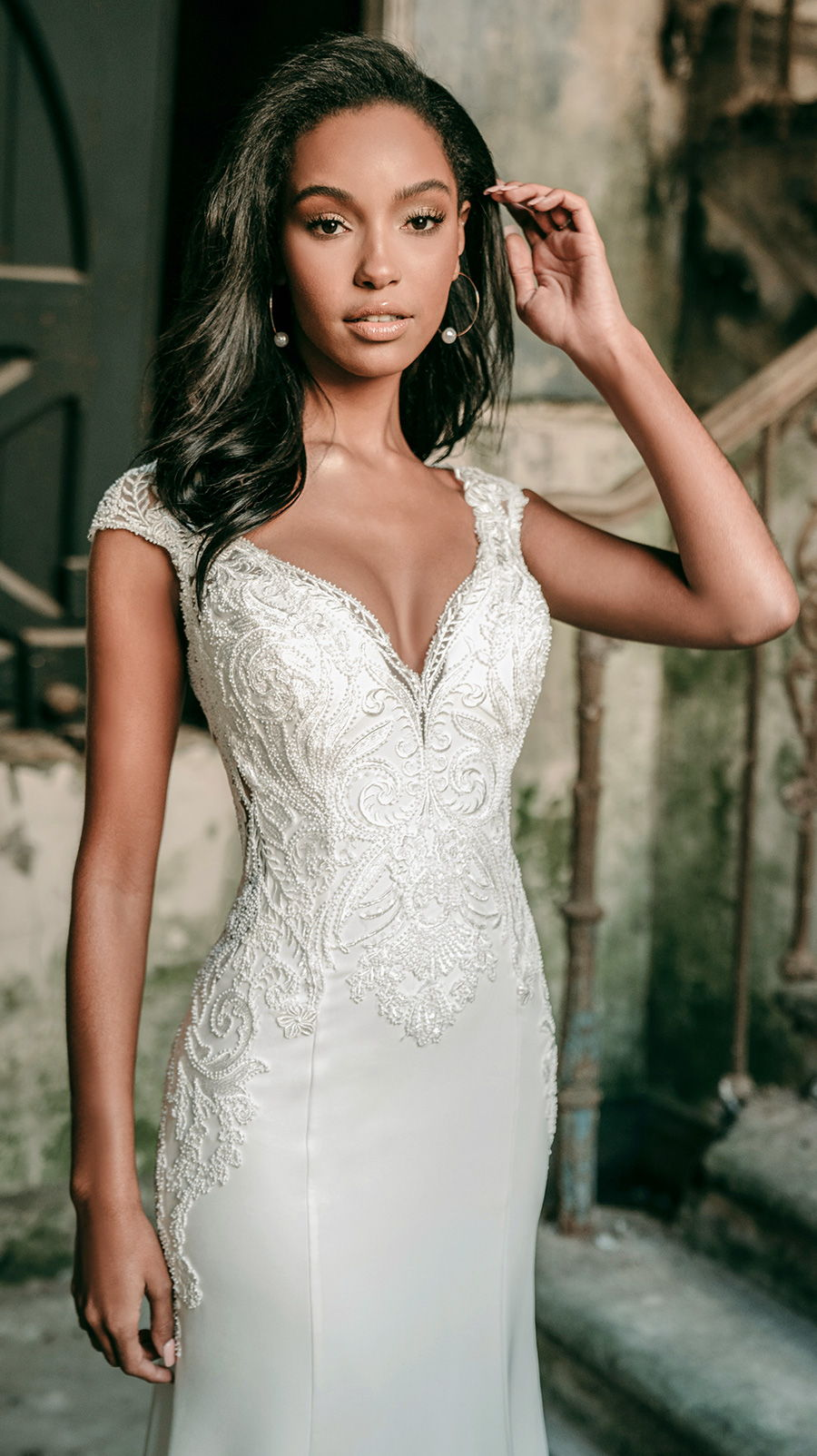 madison james spring 2020 bridal cap sleeves v neck heavily embellished bodice classic elegant drop waist trumpet a  line wedding dress covered lace back chapel train (mj601) mv