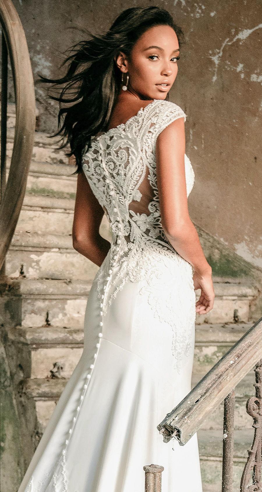 madison james spring 2020 bridal cap sleeves v neck heavily embellished bodice classic elegant drop waist trumpet a  line wedding dress covered lace back chapel train (mj601) zbv