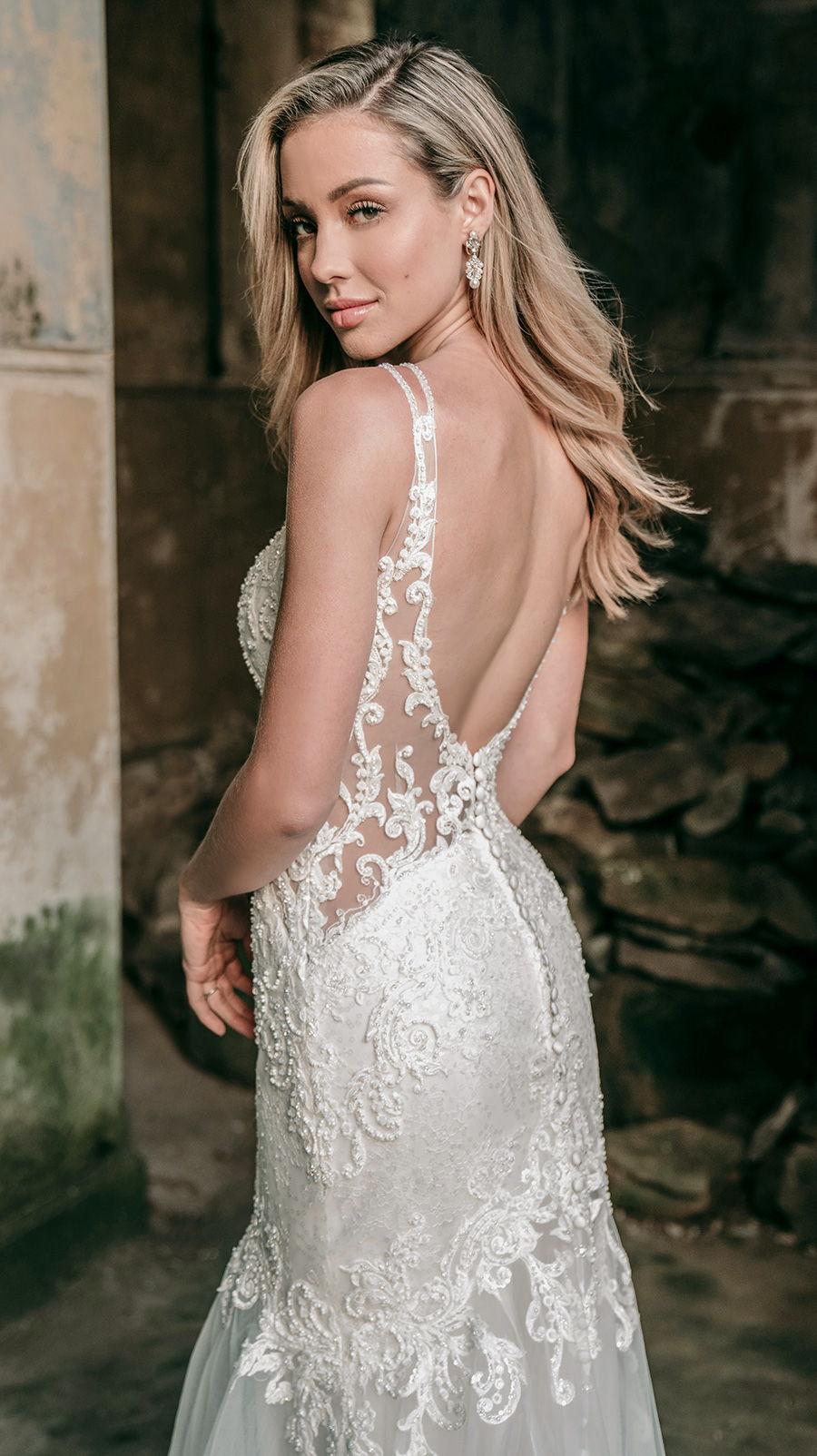 madison james spring 2020 bridal double strap v neck heavily embellished bodice elegant fit and flare wedding dress backless scoop back chapel train (mj602) bv